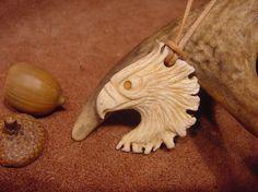 Eagle carved deer antler necklace scout Eagle's by bonecarver, $50.00