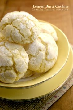 Lemon Burst Cookies {from scratch} by CrunchyCreamySweet.com  nice idea to give to shut-ins for Easter treats