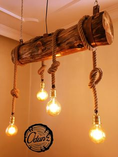Home & house design, likable rustic lighting fixtures such as 50 ideas for rustic light Rustic Lighting, Lighting Design, Cafe Lighting, Rustic Furniture, Diy Furniture, Driftwood Furniture, Diy Lampe, Wooden Lamp, Wooden Diy