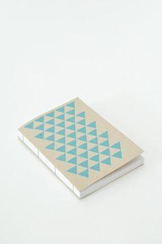 Blue Triangles Journal, coptic binding, handmade in Finland www.koromiko.com