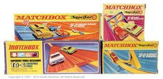 Matchbox Superfast group of Track Accessories. (1) SF12 Loop Pack, (2) SF18 Lap Counter, (3) SF21 Mass Start Grid, (4) TA6 Catapult Pass