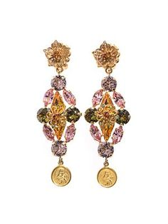 Gold-plated embellished earrings