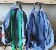 DIY Backpack Tutorial -- good way to use outgrown jeans
