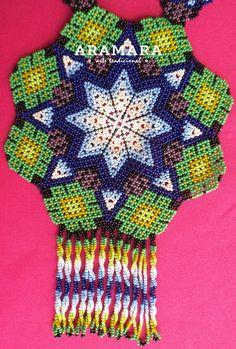 Collar mexicana Huichol cuentas estrellas y COG-0001 de collar Spiritual Connection, English Paper Piecing, African Women, Bead Art, Bead Weaving, Seed Beads, Etsy, Crochet, Peyote Patterns