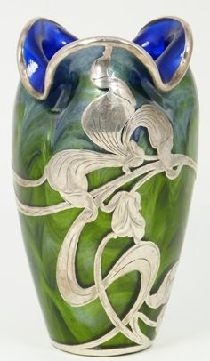 Art Nouveau ~Loetz Titania Green Art Glass Vase with silver overlay ~ early 20th century bohemian.