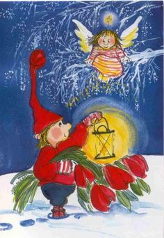 by Virpi Pekkala Christmas Angels, Christmas Greetings, Vintage Christmas, Christmas Cards, Winter Illustration, Cute Illustration, Small Paintings, Magical Creatures, Whimsical Art