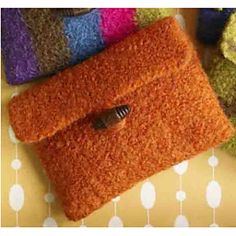 This small felted coin purse is a great introduction to felting! (Lion Brand Yarn)