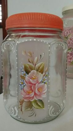 Discover thousands of images about Adeline JS Recycled Glass Bottles, Glass Bottle Crafts, Bottle Art, Bottle Painting, Hand Painting Art, Painting Canvas, Decoupage Jars, Tole Painting Patterns, Jar Art