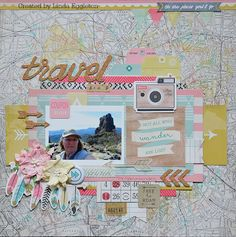 """Lou's World: Last 2 layouts with Crate Paper """"Journey"""" for All About Scrapbooks"""