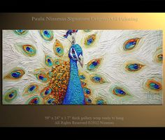 Original Contemporary Modern fine Art by Nizamas. Abstract Modern The Peacock painting - extra thick oil texture impasto paint, several layers palette Peacock Painting, Peacock Art, Peacock Eggs, Peacock Colors, Palette Knife Painting, Guache, Art Original, Wow Art, Bird Art