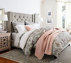 Harper Upholstered Tufted Tall Bed without Nailheads, Queen, Performance Everydaylinen(TM) by Crypton(R) Home Ivory Tall Headboard, Tufted Bed, Upholstered Beds, Headboards For Beds, Nailhead Headboard, Upolstered Headboard, Padded Headboards, Wingback Bed, Headboard Ideas