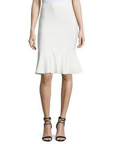 Stretch-Knit Flounce Skirt, Gardenia
