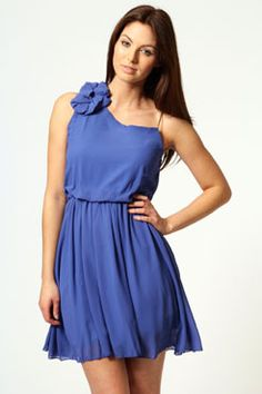 Macie Corsage and Plaited Straps Skater Dress