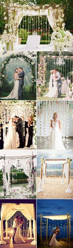 50 Beautiful #Wedding Arch Decoration Ideas - Wedding Arches with Hanging Decor Backdrop. #WeddingIdeas #WeddingDecor