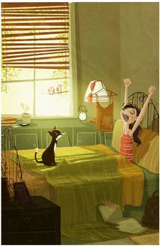 Haber dormido bien y que te de los buenos días el gato.