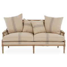 One Kings Lane Bayden 70 French Settee - Flax/Brown Settee, Settee Furniture, Rental Furniture, Furniture Design Modern, Rustic Furniture Diy, French Settees, Bedroom Furniture Sets, Furniture Stores Nyc, Furniture Fabric