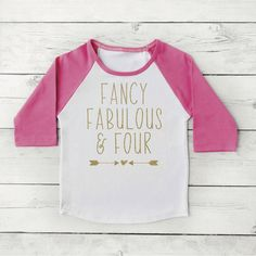 4th Birthday Shirt Four and Fabulous Four Year Old Shirt Fancy Fabulous and Four Girl Fourth Birthday Outfit 246