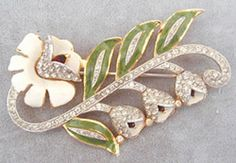 Coro Enameled Floral Brooch - Garden Party Collection Vintage Jewelry