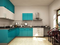 cucine moderne ad angolo-azzurre-blu   Architettura   Pinterest