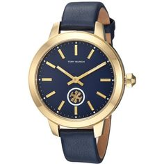 Tory Burch Collins - TBW1203 (Blue) Watches (13.180 RUB) ❤ liked on Polyvore featuring jewelry, watches, quartz movement watches, tory burch jewellery, water resistant watches, leather-strap watches and analog wrist watch