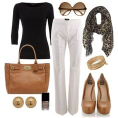 Amazing!! Loving the leopard print scarf! And the black top is great, being a hairstylist I love my black! This outfit would be great for work.