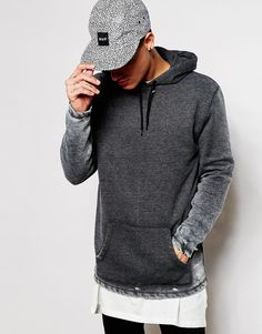 """Hoodie by ASOS Loop-back sweat Distressed, burnout wash Drawstring hood Pouch pocket Ribbed trims Regular fit - true to size Machine wash 52% Cotton, 48% Polyester Our model wears a size Medium and is 185.5cm/6'1"""" tall"""