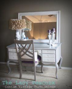 Stunning French Grey and White Desk / Vanity  by TheLacyPeacock, $699.00