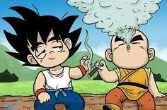 Goku y krillin fumando yerba!