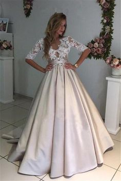81502787de42 Ball Gown Sexy Prom Dresses Scoop Half Sleeve Short Train Satin Prom Dress/Evening  Dress