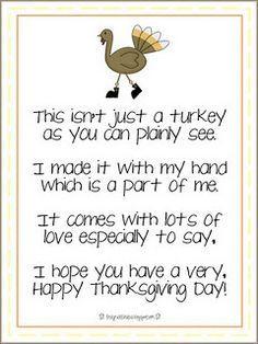 Handprint turkey : this has a cute poem to go with it. | Preschool ...