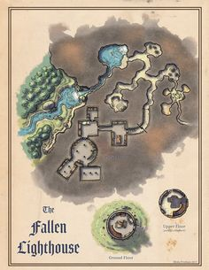 [Map] The Fallen Lighthouse — Miska's Maps RPG Cartography Fantasy Map, Medieval Fantasy, Fantasy World, Fantasy Town, Rpg Maker, Map Icons, Area Map, Dungeon Maps, Fantasy Landscape