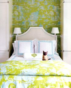 Chartreuse and light blue (company specializes in monograms, also love the material on the wall matches duvet)