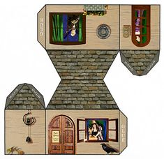 FREE printable paper house for All the Paper Dolls to Own and visit.