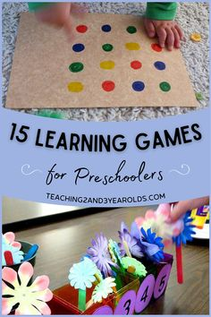 There are so many great ways to add preschool learning games to your home and classroom! Each activity in this collection gets kids thinking while having fun! #preschool #learning #games #activities #3yearolds #4yearolds #teaching2and3yearolds Preschool Centers, Preschool Learning, Preschool Crafts, Preschool Activities, Toddler Board Games, Toddler Home Activities, Learning Numbers, Learning Letters, Learning Games For Preschoolers