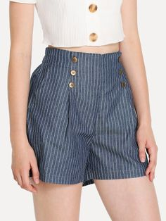 To find out about the Button Front Pinstripe Shorts at SHEIN, part of our latest Denim Shorts ready to shop online today! Casual Summer Outfits, Short Outfits, Short Dresses, Cute Outfits, Ripped Shorts, Denim Shorts, Types Of Shorts, High Wasted Shorts, Velvet Shorts