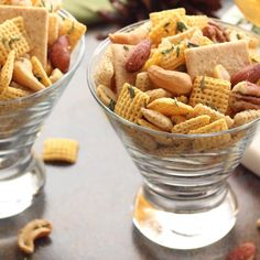 Rosemary and Thyme Cocktail Chex™ Party Mix ready to be served.