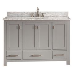Avanity Modero Chilled Gray Undermount Single Sink Bathroom Vanity With Natural Marble Top (Common: 49-In X 22-In; Actua
