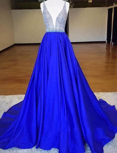 Luxurious Royal Blue Deep-V-Neck Sleeveless Backless Beading Long Prom Dress,PD947
