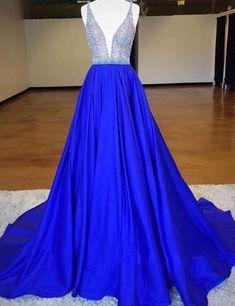 Luxurious Royal Blue Deep-V-Neck Sleeveless Backless Beading Long Prom Dress,PD947