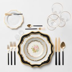 Anna Weatherley Chargers in Black/Gold + AW Dinnerware + The Botanicals Collection Vintage China + Axel Flatware in 24k Gold/Matte Black finish + Gold Rimmed Stemware + Antique Crystal Salt Cellars | Casa de Perrin Design Presentation