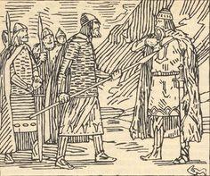 Finn Arnesson confronting Thorir Hund, By Gerhard Munthe.