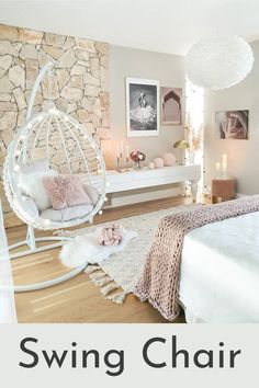 Love the design in this bedroom (especially the stone)! Lots of decor inspo her Love the design in this bedroom (especially the stone)! Lots of decor inspo here for all of you! Cute Bedroom Decor, Room Design Bedroom, Bedroom Decor For Teen Girls, Cute Bedroom Ideas, Girl Bedroom Designs, Teen Room Decor, Stylish Bedroom, Room Ideas Bedroom, Master Bedroom