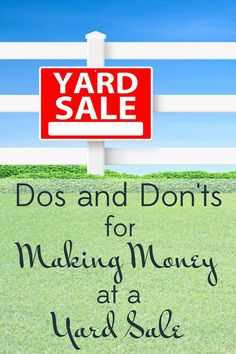 I am a veteran yard saler so learn from my mistakes and experience! Here are my dos and don'ts for making money at a yard sale. Yard Sale Signs, Garage Sale Signs, For Sale Sign, Garage Sale Pricing, Sell Your Stuff, Things To Sell, Garage Sale Organization, Organizing, Inclusion Classroom