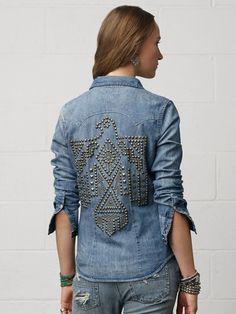 Denim Studded Western Shirt by Ralph Lauren