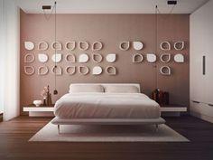 Taupe Farbe Wanddeko im Schlafzimmer Gestaltung