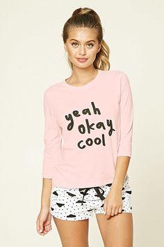 Pijama Yeah Okay Cool Cute Pjs, Cute Pajamas, Pajamas Women, Pijama Satin, Forever 21 Pajamas, Love Fashion, Fashion Outfits, Cute Sleepwear, Underwear