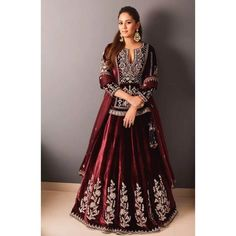 Shop from an exclusive range of luxurious wedding dresses & bridal wear by Anita Dongre. Bring home hand-embroidered wedding wear in colors inspired by nature. Indian Bridal Outfits, Indian Dresses, Bridal Dresses, Velvet Dress Designs, Lehenga Gown, Designer Bridal Lehenga, Lehenga Collection, Anita Dongre, Luxury Wedding Dress
