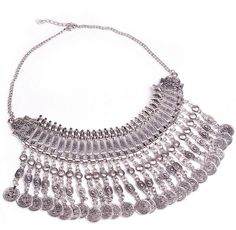 """Hippie Boho Necklace """"Ethnic Chic long"""" Oriental silver coin - Crystalline"""