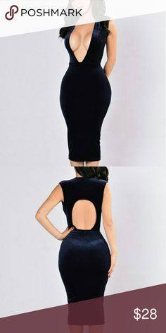 Dress, deep V Suede , blue, sold out completely on fashion nova Fashion Nova Dresses Midi