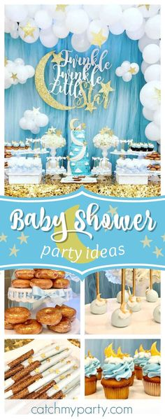 Don't miss this wonderful Twinkle Twinkle Little Star Baby Shower! The cupcake are adorable!! See more party ideas and share yours at CatchMyParty.com #catchmyparty #babyshower #littlestar